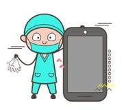 Cirujano Holding Gloves y presentación de la historieta de un vector de Smartphone libre illustration