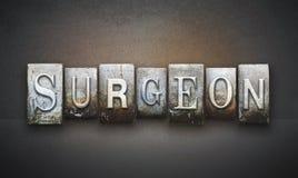 Cirujano Letterpress imágenes de archivo libres de regalías