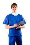 Cirujano sobre el fondo blanco Imagenes de archivo