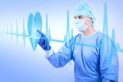Cirurgião de trabalho que olha a taxa do batimento cardíaco ilustração do vetor