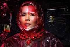 Cirurgia plástica criativa no modo vermelho de Tone Fashion Patient Female Fotos de Stock