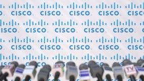 CISCO,有商标和话筒的,社论动画新闻墙壁传播噱头  股票视频