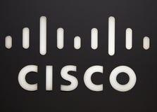 Cisco bokstäver på en vägg i Amsterdam Royaltyfri Fotografi