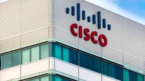 Cisco lätthet i Silicon Valley arkivfilmer