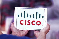 Cisco logo. Logo of cisco company on samsung tablet in hands Royalty Free Stock Photography