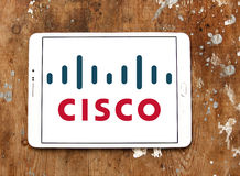 Cisco logo. Logo of cisco company on samsung tablet on wooden background Stock Photography