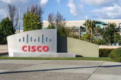CISCO sign in front of the headquarters in Silicon Valley. February 19, 2018 San Jose / CA / USA - CISCO sign in front of the headquarters in Silicon Valley, San royalty free stock image