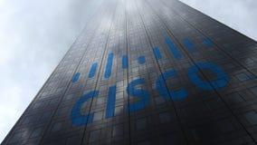 Cisco Systems logo on a skyscraper facade reflecting clouds. Editorial 3D rendering Stock Photos