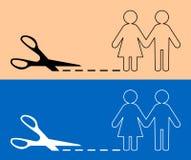 Ciseaux avec la ligne de coupe et l'icône de paires illustration stock
