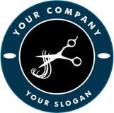 Ciseaux coupant le brin de cheveu, logo de Solon de cheveu Image libre de droits