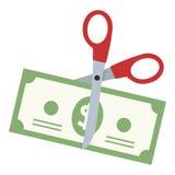 Ciseaux coupant une icône plate de billet de banque du dollar illustration libre de droits