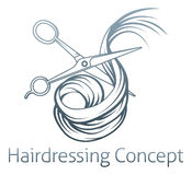 Ciseaux de coiffeurs coupant des cheveux Images libres de droits
