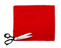 Ciseaux et échantillon de tissu, d'isolement photo libre de droits