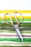 Ciseaux et amorçages de broderie Image stock