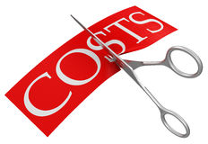 Ciseaux et coûts (chemin de coupure inclus) Images libres de droits