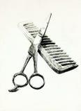 Ciseaux et peigne illustration de vecteur