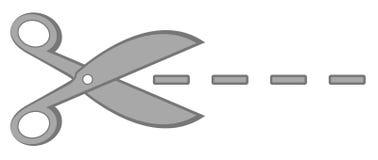 Ciseaux gris en métal avec la ligne pointillée Photos stock