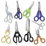 Ciseaux professionnels de vecteur de ciseaux coupant des cheveux ou scissoring avec le coupeur et le pruneau de cisailles ou illustration stock