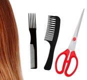Ciseaux rouges, peignes et cheveux bruns d'isolement sur le blanc Photographie stock libre de droits