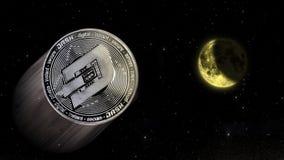 Ciska crypto cena wzrost księżyc, konceptualny handel środka wybuchowego incr ilustracja wektor