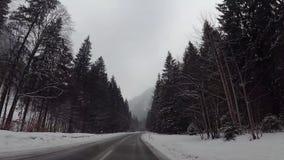Ciska kamerę w samochodzie, śnieg na autostradzie zbiory