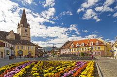 Cisnadie, Romania. Fortified church ans town square in Cisnadie, Transylvania, Romania stock photo