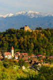Cisnadioara village in transylvania, romania Royalty Free Stock Images