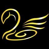 Cisne abstracto del oro del vector Imagen de archivo libre de regalías