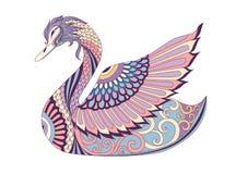 Cisne colorido para el elemento del diseño Ilustración del vector Imagenes de archivo
