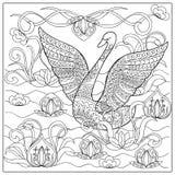 Cisne en el lago ilustración del vector
