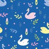 Cisnes bonitos dos desenhos animados, flores, folhas Vetor sem emenda da cor ilustração royalty free