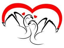 2 cisnes en amor stock de ilustración