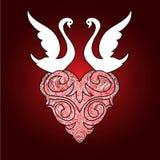 Cisnes estilizados con el corazón de la tarjeta del día de San Valentín Fotos de archivo libres de regalías