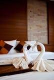 Cisnes feitas das toalhas Foto de Stock