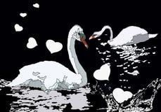 Cisnes que nadam no lago com corações ilustração royalty free