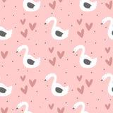 Cisnes repetidas, corações e pontos redondos Teste padrão sem emenda bonito para crianças ilustração stock