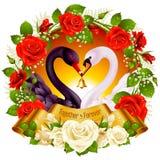 Cisnes, rosas e corações ilustração do vetor