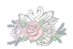 Cisnes, rosas y anillos de bodas hermosos boda Vector el ejemplo para una postal o un cartel celebración stock de ilustración