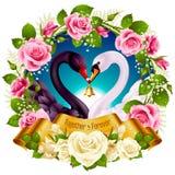 Cisnes, rosas y corazones stock de ilustración