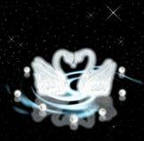 Cisnes y perlas. Concepto de la dedicación y del amor Imagen de archivo