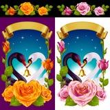 Cisnes y rosas fijados ilustración del vector
