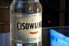 Cisowianka. Warsaw, Poland. May 2016. Plastic bottle with carbonation of mineral water. Cisowianka stock images