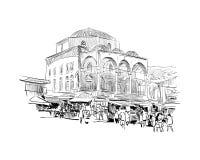 Cistarakis meczet athens Grecja Ręka rysujący nakreślenie również zwrócić corel ilustracji wektora Fotografia Stock