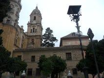 Cister街-大教堂庭院马拉加 图库摄影