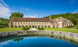 Cistercian Abbey of Fontenay, Burgundy, France. Beautiful view of famous Cistercian Abbey of Fontenay, a UNESCO World Heritage Site since 1981, in the commune of Royalty Free Stock Photos