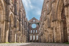 Interior view of the Abbey of San Galgano royalty free stock image