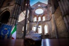 Cistercian abbotskloster av San Galgano nära Chiusdino, Tuscany, Italien Arkivfoton