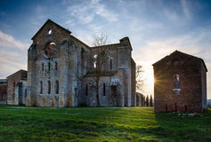 Cistercian Abtei von San Galgano nahe Chiusdino, Toskana, Italien Lizenzfreies Stockfoto