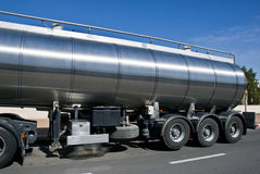 Cistern. A trailer with a big tank for delivering liquid cargoes Royalty Free Stock Photos