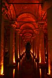 Cistern basilica. Red lights, perspective and the reflections in Cistern Basilica, Istanbul Royalty Free Stock Images